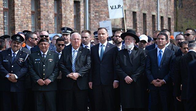 Президент Израиля Реувен Ривлин и президент Польши Анджей Дуда на шествии Марш жизни в польском Освенциме