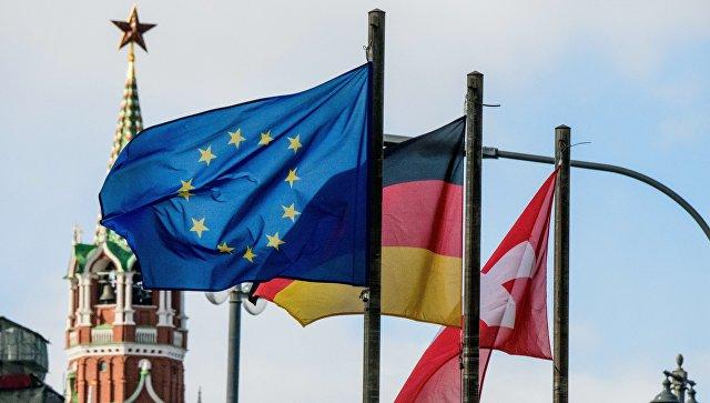 Флаги европейских государств и Евросоюза на фоне Кремля. Архивное фото
