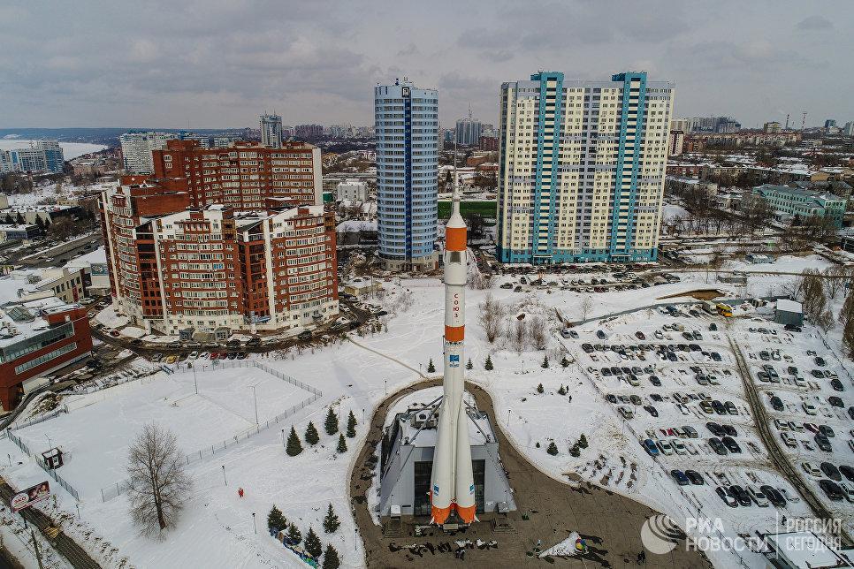 Монумент ракета-носитель Союз музея Самара Космическая им. Д. И. Козлова в Самаре