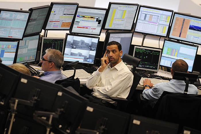 Трейдеры на франкфуртской фондовой бирже