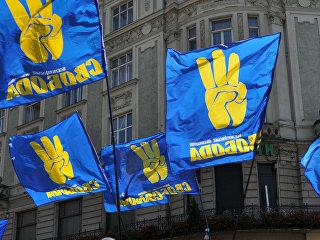 Флаги партии Свобода во Львове. Архивное фото