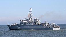 Минный тральщик Александр Обухов во время выхода кораблей Балтийского флота в море в рамках российско-белорусских стратегических учений Запад-2017