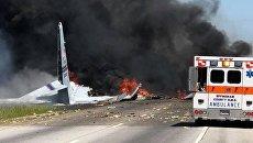 На месте падения американского военно-транспортного самолета C-130 Геркулес в штате Джорджия. 2 мая 2018