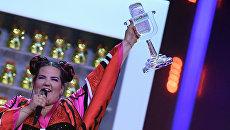 Победительница из Израиля в финале конкурса Евровидение Нетта Барзилай . Архивное фото
