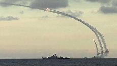 Из акватории Каспийского моря ракетными кораблями Каспийской флотилии РФ нанесен массированный удар 18-ю крылатыми ракетами комплекса Калибр-НК по 7-ми целям позиций террористов в Сирии. Архивное фото