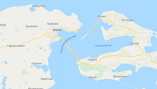 Скриншот карты сервиса Google Maps, на котором появился Крымский мост