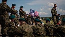 Флаг США на военной базе в Польше. Архивное фото