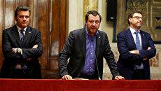 Лидер партии Лига Маттео Сальвини выступает перед журналистами в парламенте Италии. 24 мая 2018