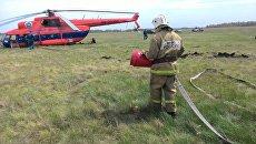 Аварийная посадка вертолета Ми-8 в селе Петровка Омского района. 1 июня 2018