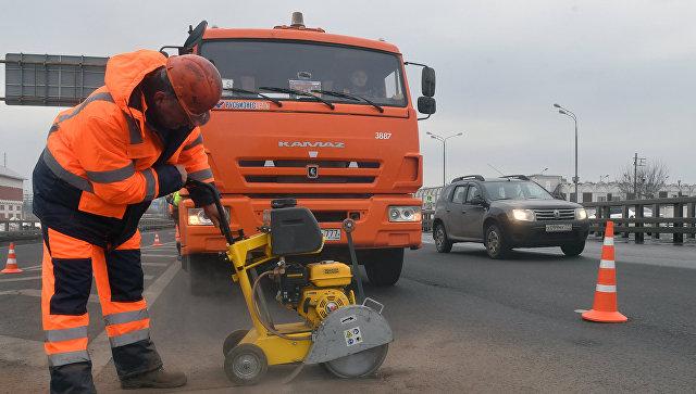 Ремонт дороги в Москве