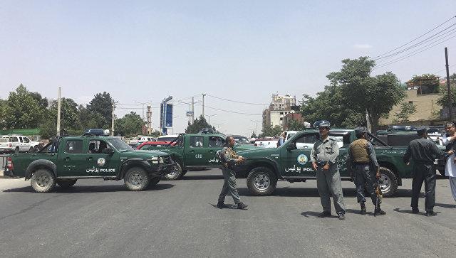 阿富汗执法人员在喀布尔。 2018年6月4日