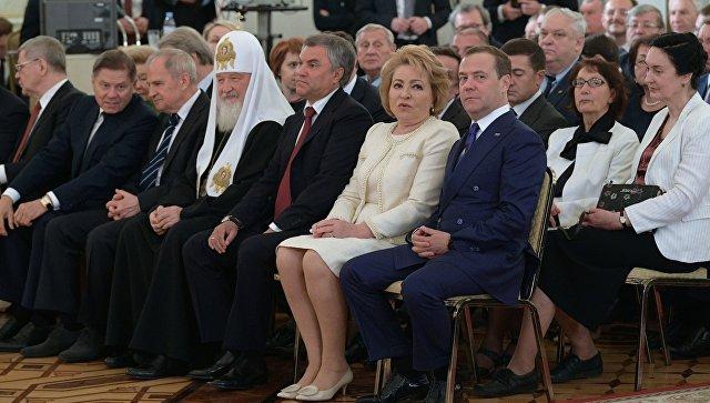 На церемонии вручения президентом РФ Владимиром Путиным Государственных премий 2017 года за выдающиеся достижения в области науки и технологий, литературы и искусства, гуманитарной деятельности. 12 июня 2018