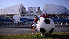 Болельщица у стадиона Фишт в Олимпийском парке в Сочи. Архивное фото