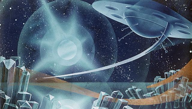 Репродукция картины художника-фантаста Андрея Соколова Мир двойной звезды