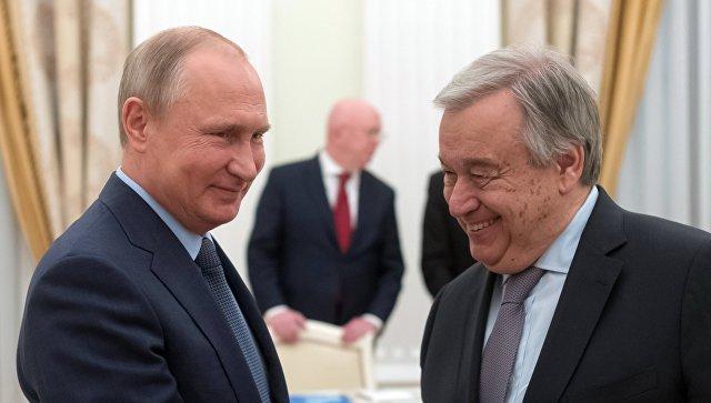 Владимир Путин и генеральный секретарь ООН Антониу Гутерреш во время встречи. 20 июня 2018