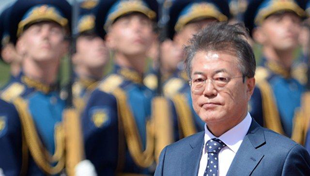 Президент Республики Корея Мун Чжэ Ин в аэропорту Внуково-2. 21 июня 2018