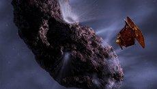 Так художник представил себе миссию Deep Impact у кометы Temple 1