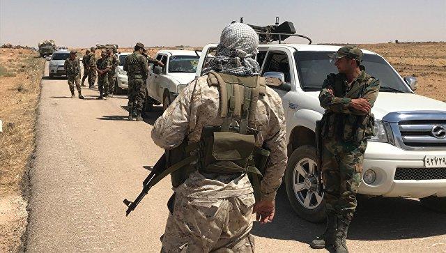 Сирийская армия на границе с Иорданией а провинции Дераа . 5 июля 2018