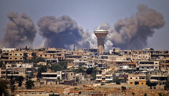Авиаудары по боевикам в городе Дераа, Сирия. Архивное фото