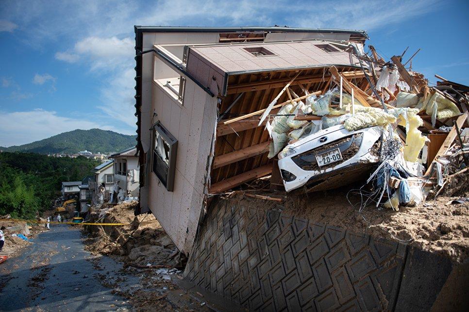 Последствия ливневых дождей в Японии. 9 июля 2018 года
