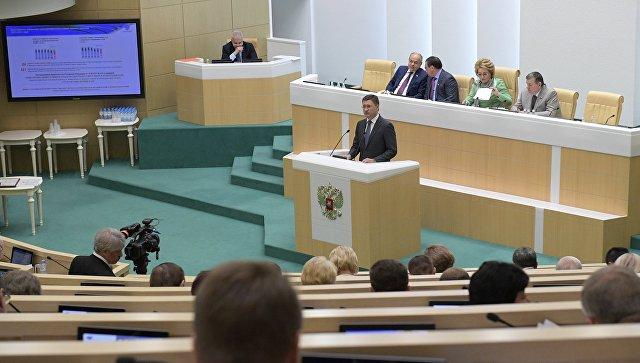 Министр энергетики РФ Александр Новак на пленарном заседании Совета Федерации РФ в Москве. 13 июля 2018