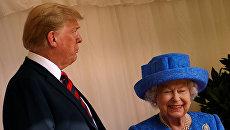 Президент США Дональд Трамп с британской королевой Елизаветой II в Виндзорском замке. 13 июля 2018