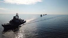 Тренировка кораблей-участников Главного Военно-Морского Парада