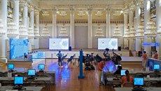 Пресс-центр чемпионата мира по футболу FIFA 2018 в Колонном зале Дома Союзов в Москве