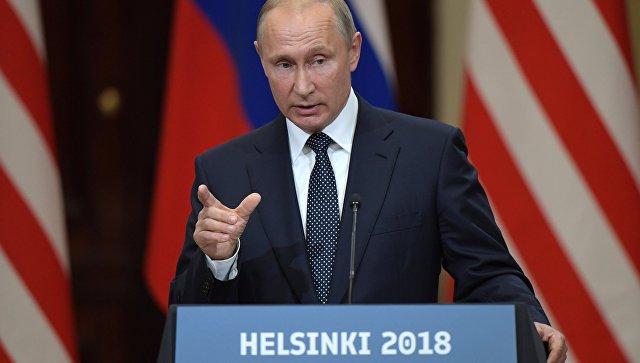 Президент РФ Владимир Путин на совместной с президентом США Дональдом Трампом пресс-конференции по итогам встречи в Хельсинки. 16 июля 2018