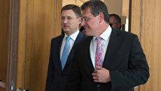 Александр Новак и Марош Шефчович во время переговоров России, Украины и Еврокомиссии по транзиту газа в Берлине. 17 июля 2018