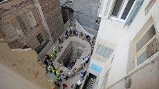 На месте обнаружения черного саркофага в Александрии