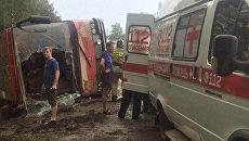 Рейсовый автобус перевернулся на трассе А-107 в Домодедовском районе Московской области. 28 июля 2018