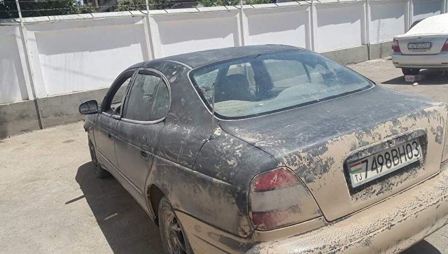 Автомобиль на котором передвигались преступники совершившие наезд на 7 иностранных граждан-велосипедистов в Таджикистане. 29 июля 2018 года
