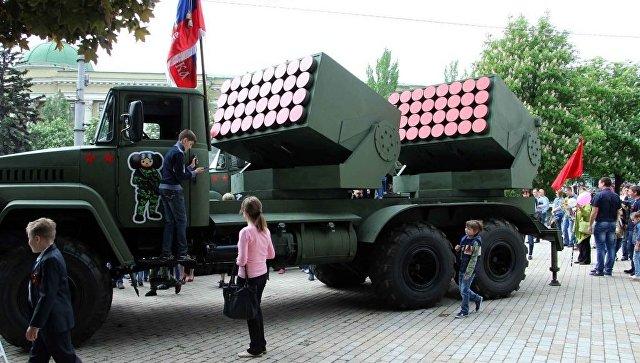 Реактивная система залпового огня Чебурашка на выставке в ДНР