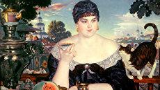 Репродукция картины Бориса Кустодиева Купчиха за чаем, 1918