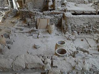 Акротири, минойский город на Санторине, уничтоженный взрывом вулкана в 16 веке до нашей эры