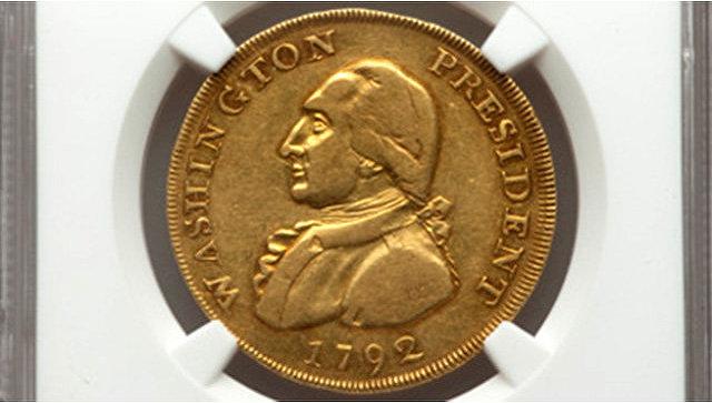 Золотая монета 1792 года выпуска с изображением первого президента США Джорджа Вашингтона