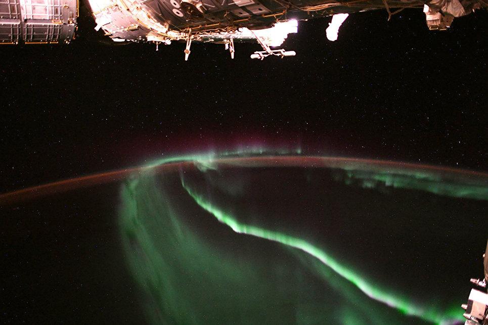 Северное сияние с МКС. 15 августа 2018