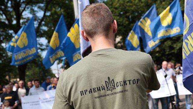 Сторонник Правого сектора* на митинге националистов во Львове