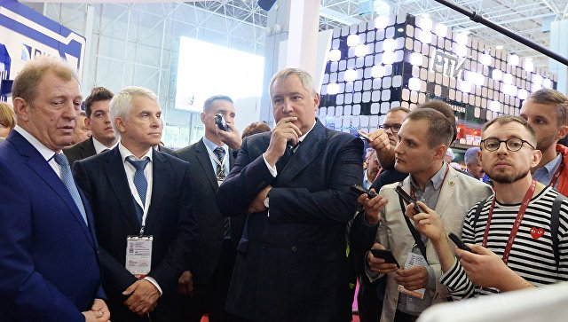 Генеральный директор ГК Роскосмос Дмитрий Рогозин на IV Международном военно-техническом форуме Армия-2018 в Кубинке. 22 августа 2018