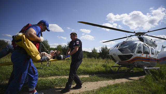 Учения пожарных на вертолетах