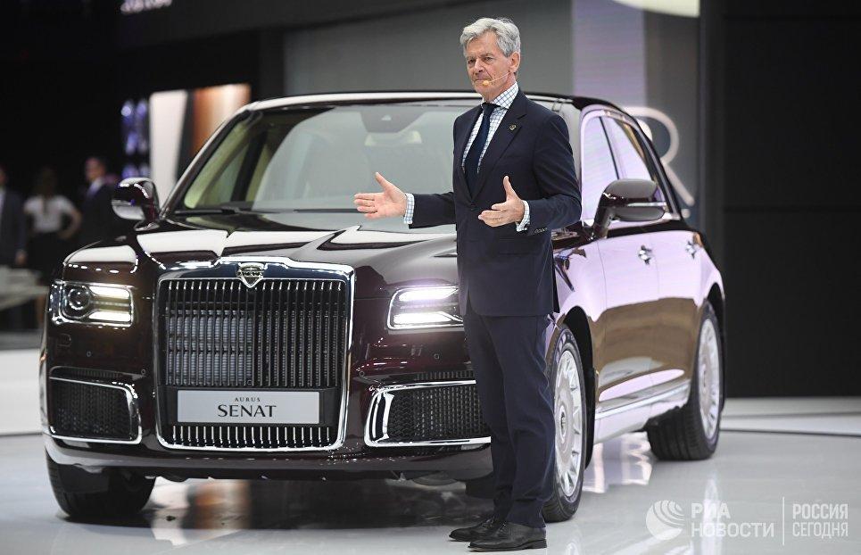 Генеральный директор компании Aurus Хильгерт Франц Герхард на Московском международном автомобильном салоне 2018
