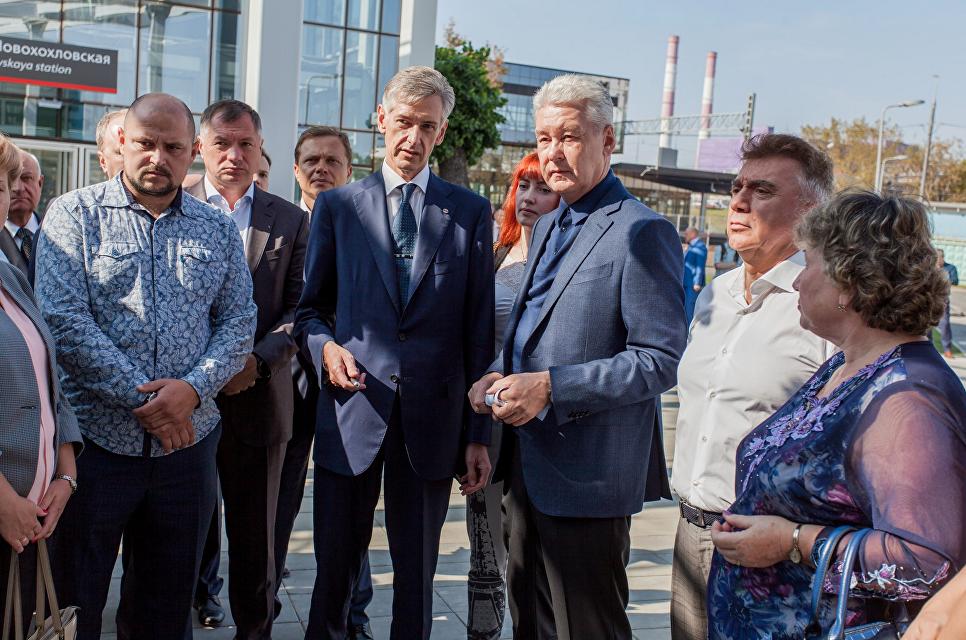Мэр Москвы Сергей Собянин открыл платформу Новохохловская. 6 сентября 2018