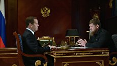 Председатель правительства РФ Дмитрий Медведев и глава Чеченской республики Рамзан Кадыров во время встречи. 12 сентября 2018
