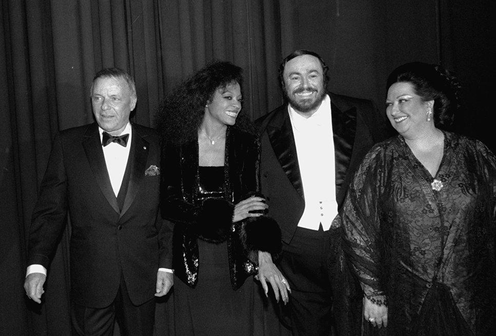 Фрэнк Синатра, Дайана Росс, Лучано Паваротти и Монсеррат Кабалье. 18 марта 1984