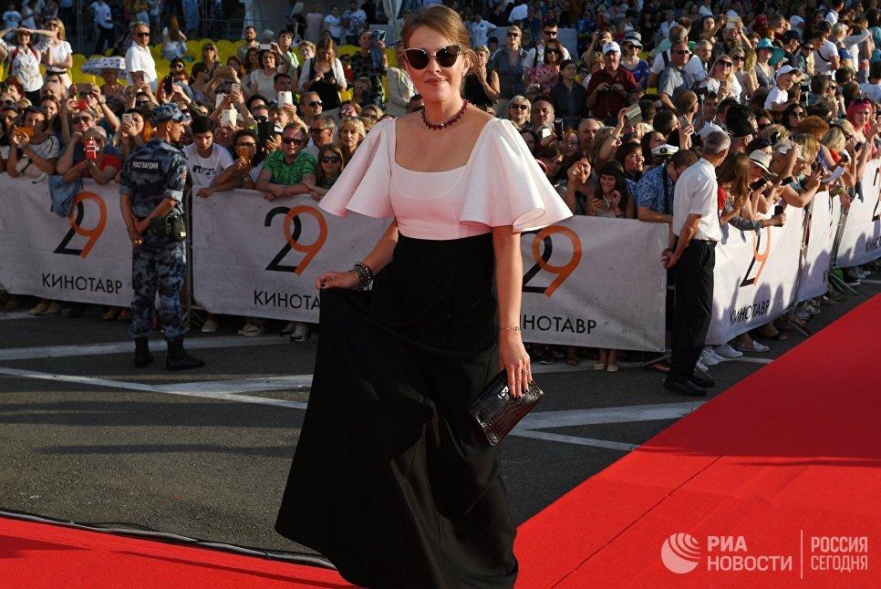 Телеведущая и политик Ксения Собчак на церемонии открытия 29-го российского фестиваля «Кинотавр».