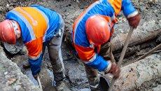 Прорыв труб водопровода в Киеве