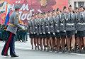 Сотрудницы МВД России проходят по Дворцовой площади во время генеральной репетиции парада в честь 66-й годовщины Победы в Великой Отечественной войне