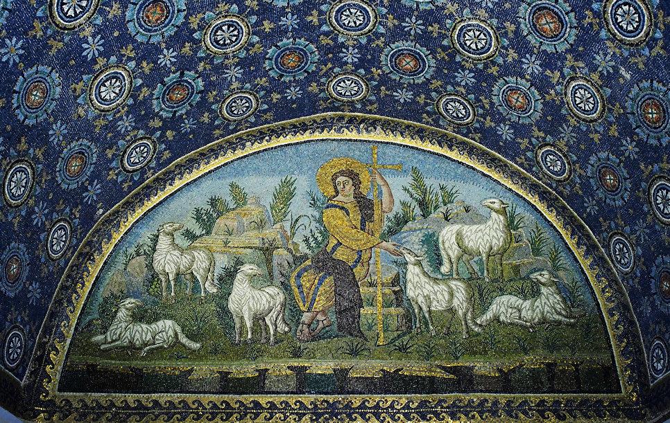 Мозаика «Христос — Добрый Пастырь» в мавзолее Галлы Плацидии