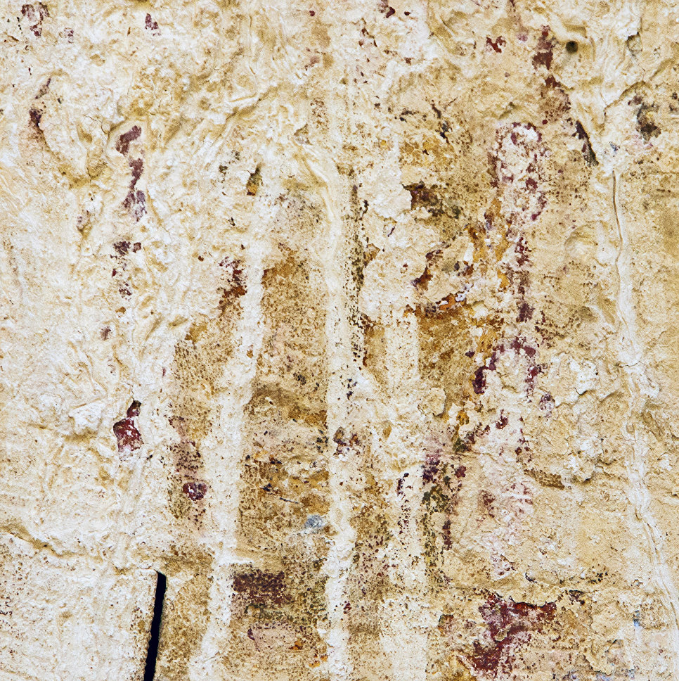 Рисунок с изображением Иисуса Христа, найденный на потолке разрушенного древнего христианского храма в пустыне Негев